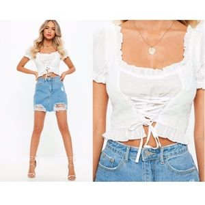 Milkmaid Style Lace Up Crop Top